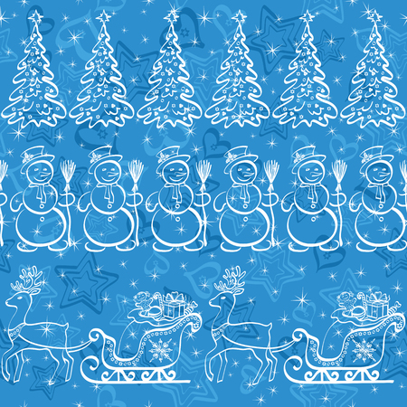 Christmas seamless pattern for holiday design, white contours on blue background Vector