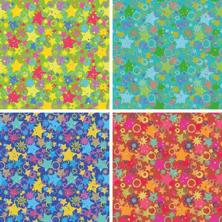 Set seamless holiday backgrounds, abstract design, patterns of stars and rings. Vector Vector