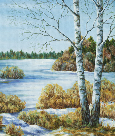 coppice: Siberian landscape, Russia. Picture, painting, hand-draw, oil paints on a canvas