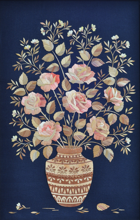 birch bark: Handmade, applique, bouquet of roses made of straw in a vase made of birch bark