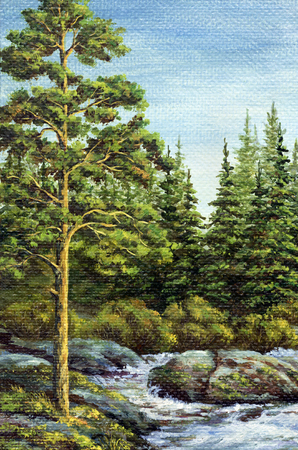 altai: Painting, picture oil paints on a canvas. Landscape, mountain river. Altai, Russia Stock Photo