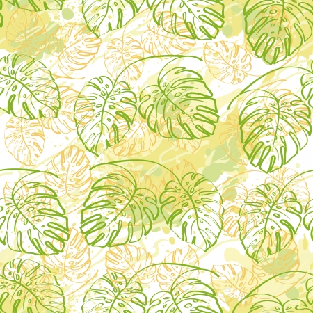 monstera: Seamless exotic background, contour monstera plants leaves and abstract pattern.  Illustration