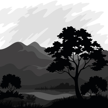 ridge: Mountain landscape with pine tree and lake, silhouettes