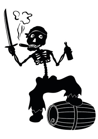 tun: Cartoon evil zombie pirate Jolly Roger skeleton with a sword, a bottle of wine and a barrel smoking a cigar, black silhouettes on white background  Vector