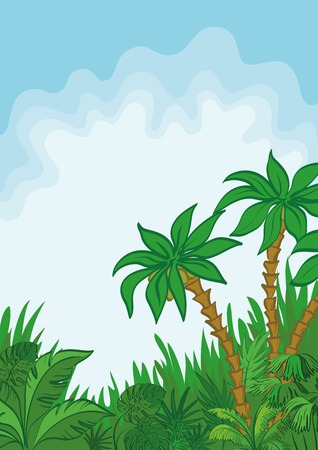 Exotic landscape, jungle, palm tree, plants and blue sky with white clouds. Vector Vector