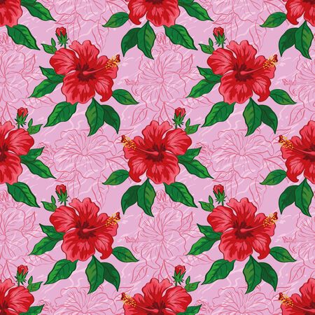 Seamless floral background, pattern of hibiscus flowers, leaves and contours. Vector Vector