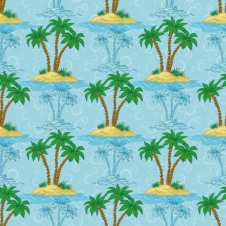 carribean: Patr�n sin fisuras, la isla del mar de palmeras y contornos azules. Vector