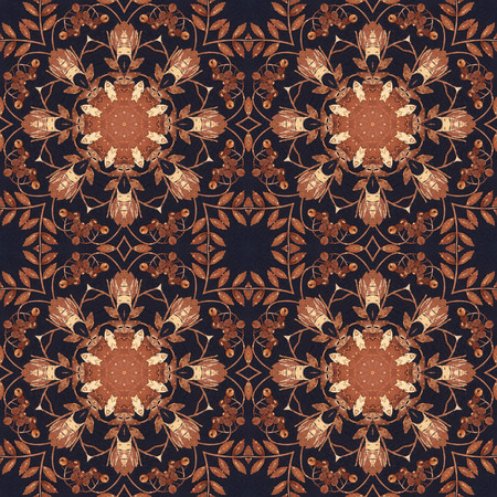 birchen: Abstract artistic background, seamless handmade floral ornament, intarsia from the back side of a birch bark on black fabric