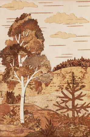 birchen: Manual job: application from slices of an underside of a birch bark: landscape with a birch and a fur-tree