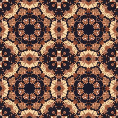 marqueteria: Fondo artístico abstracto, sin fisuras adorno floral hecho a mano, la técnica de taracea de la parte trasera de una corteza de abedul en tela negro