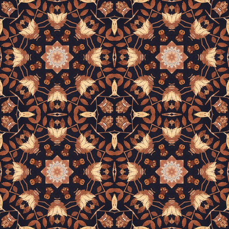 birchen: Abstract artistic pattern, seamless handmade floral ornament, applique from the back side of a birch bark on black fabric background Stock Photo