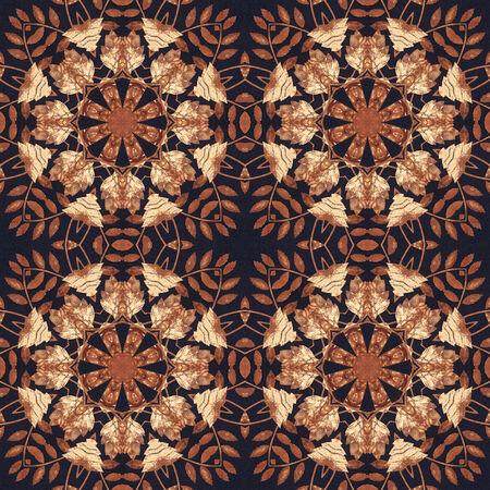 marqueteria: Patrón artístico abstracto, sin fisuras adorno floral hecho a mano, apliques de la parte trasera de una corteza de abedul en el fondo negro de la tela Foto de archivo