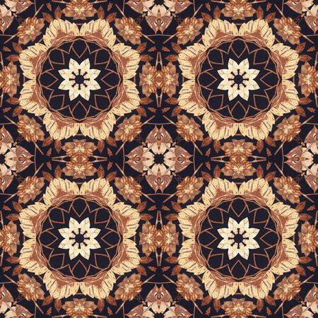 Abstract artistic pattern, seamless handmade floral ornament, applique from the back side of a birch bark on black fabric background photo