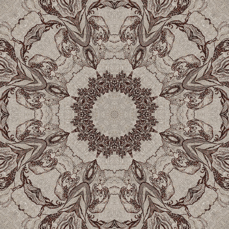Seamless artistic background, abstract graphic pattern on vintage linen canvas photo