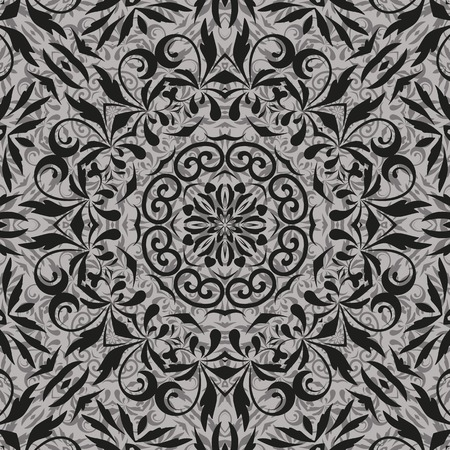 symbolical: Seamless abstract floral pattern, black contours on grey background  Vecto Illustration