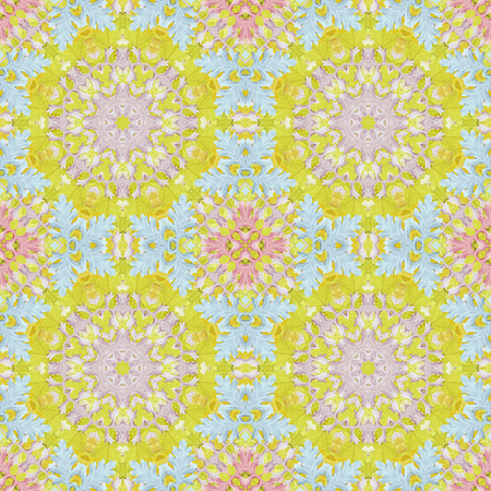 Artistic background, abstract seamless floral pattern with colorful leaves of plants photo