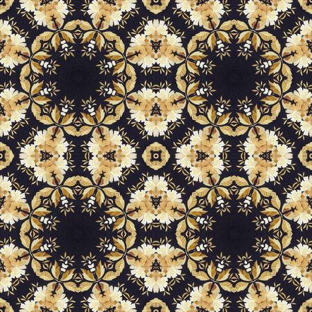 marqueteria: Modelo abstracto inconsútil artístico, adornos florales, applique hecho a mano de la paja pintada y corteza en un fondo negro tela Foto de archivo