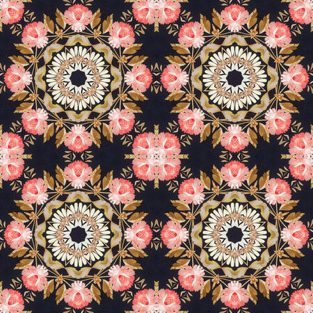 marquetry: Abstract seamless artistic pattern, floral ornament, handmade applique from painted straw and bark on a black fabric background