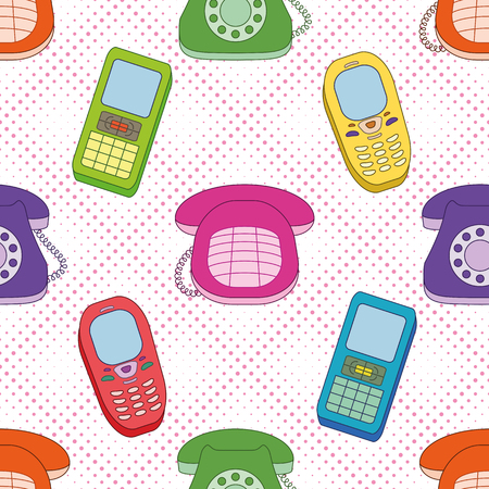 connexion: Seamless background, various cartoon telephones, mobile and desktop  Vector Illustration