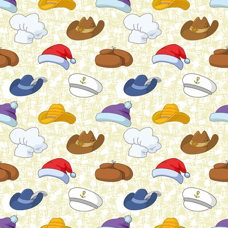 hatband: Seamless pattern of different heads designs on abstract background, Santa Claus, sheriff, musketeer, captain, cook and others  Vector