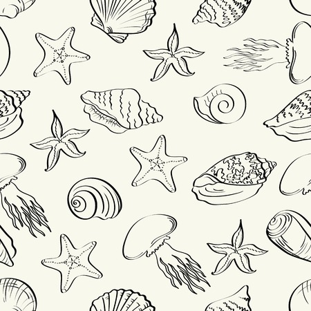 Seamless pattern, seashells, starfish and jellyfish black contours isolated on white background  Vector Vector