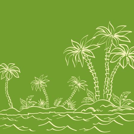 paesaggio mare: Isola del mare tropicale paesaggio con palme ed erba