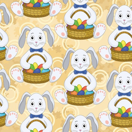 Seamless pattern, cartoon Bunnies with a basket of Easter eggs on abstract background  Vector