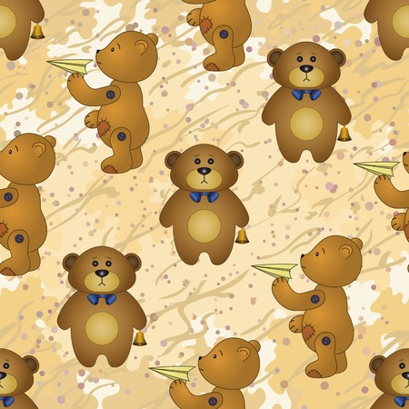 Seamless pattern, cartoon teddy bears with toy airplanes and golden bells on abstract background  Vector Vector