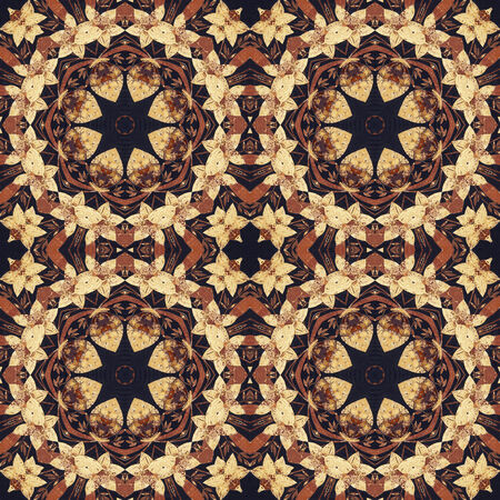 marqueteria: Patrón artístico abstracto, sin ornamento floral hecho a mano, apliques de la parte trasera de una corteza de abedul en el fondo negro de la tela