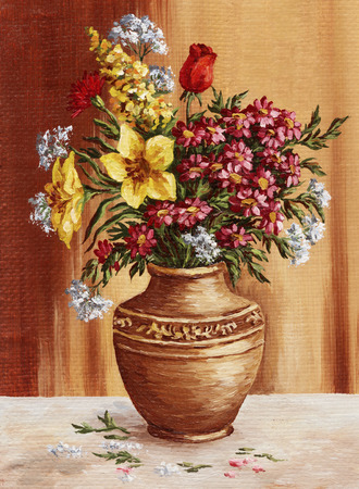 Picture hand-draw oil painting on canvas, garden flowers in a clay amphora photo
