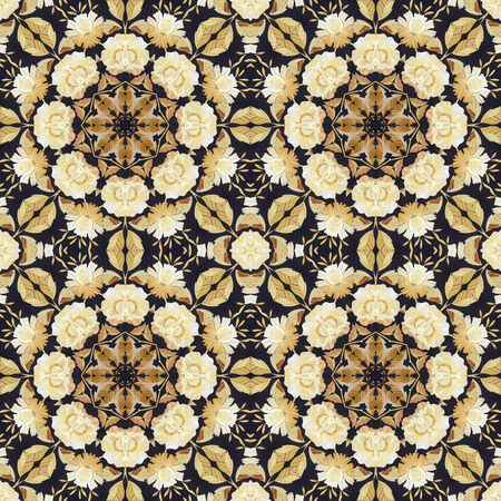 Abstract seamless artistic pattern, floral ornament, handmade applique from painted straw and bark on a black fabric background photo