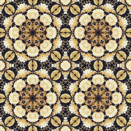 marqueteria: Modelo abstracto inconsútil artístico, adornos florales, apliques hechos a mano de la paja pintada y corteza sobre un fondo negro de la tela Foto de archivo