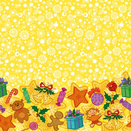 Christmas holiday seamless horizontal pattern with cartoon characters and elements. Vector Vector
