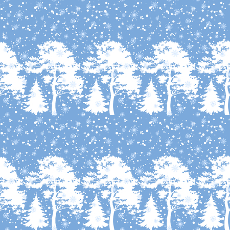 Seamless Christmas background, winter forest with trees silhouettes and snow. Vector