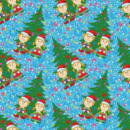 Seamless holiday Christmas background, cartoon child elves with gift boxes near fir tree. Vector Vector