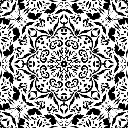 Seamless abstract floral pattern with symbolical butterflies, black silhouettes on white background. Vector Vector