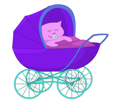Cartoon baby sucking a dummy, sleeping in the baby carriage, isolated on white background. Vector