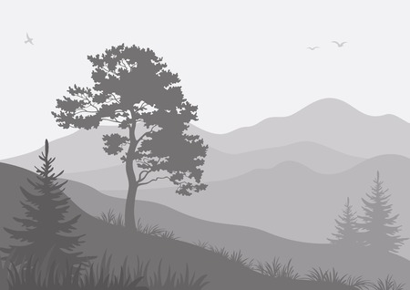 Mountain landscape with pine and fir trees and birds, grey silhouettes. Vector