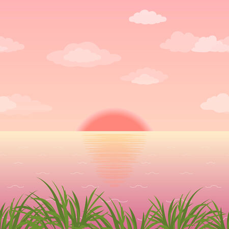 sea green: Landscape, sunrise on the sea, green grass and pink morning sky with sun and clouds. Eps10, contains transparencies. Vector
