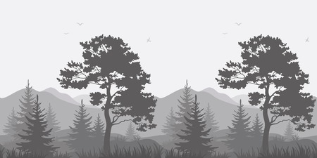 conifer: Seamless, mountain landscape with pines, conifer trees, birds and grass, gray silhouettes. Vector Illustration