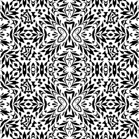 contours: Seamless floral pattern, black contours isolated on white background.