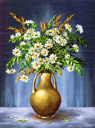 Picture Oil Painting on a Canvas, a Bouquet of Camomiles in a Clay Vase Stock fotó