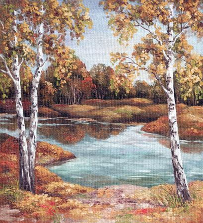 Picture Oil Painting on a Canvas, Landscape, Birches Trees on Coast, Autumn