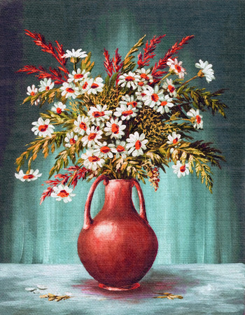 Picture Oil Painting on a Canvas, a Bouquet of Flowers in a Clay Vase