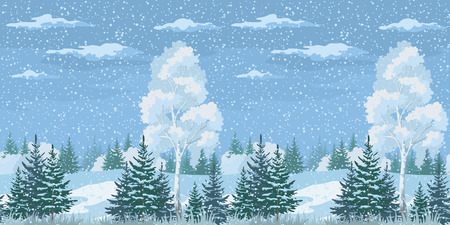 Seamless Horizontal Christmas Winter Forest Landscape with Birch, Firs Trees and Sky with Snow and Clouds. Vector