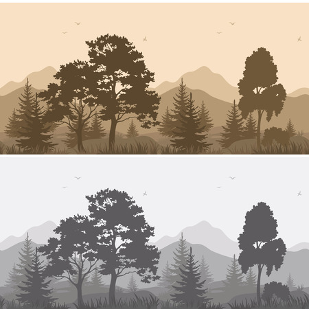 cutout: Set Seamless Horizontal Landscapes, Mountains with Trees and Grass, Birds in the Sky, Gray and Brown Silhouettes. Vector