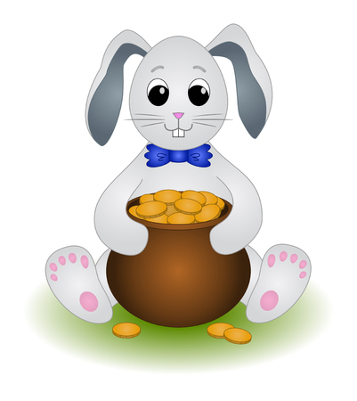 sits: Cartoon Rabbit Sits with a Pot of Gold Coins. Vector