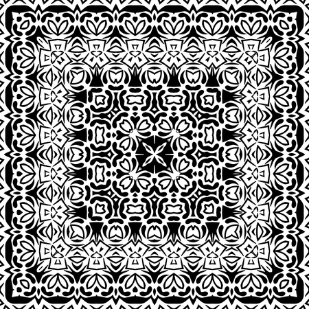 contours: Abstract Seamless Pattern, Black Contours Isolated on White Background. Vector