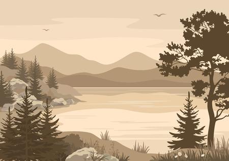 風景、湖、山の木、花、草、空のシルエットの鳥。ベクトル