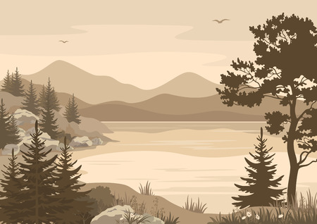 Landscapes, Lake, Mountains with Trees, Flowers and Grass, Birds in the Sky Silhouettes. Vector Illustration